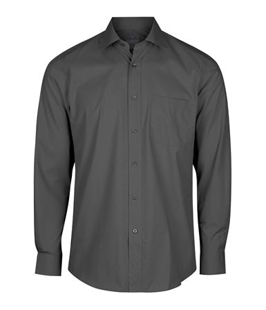 Enlarge  Gloweave Mens Mens Long Sleeve Plain Poplin Shirt (1272L) 1272L Charcoal