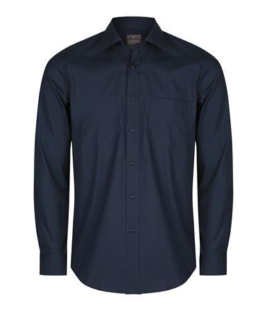 Enlarge  Gloweave Mens Mens Long Sleeve Plain Poplin Shirt (1272L) 1272l Navy