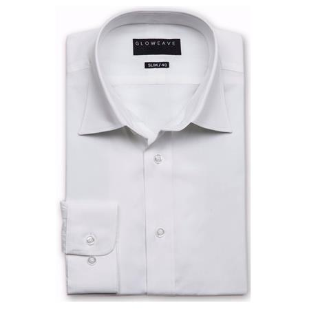Enlarge  Gloweave Mens Mens Long Sleeve Classic Business Plain Poplin Shirt (1520L) 1520L White